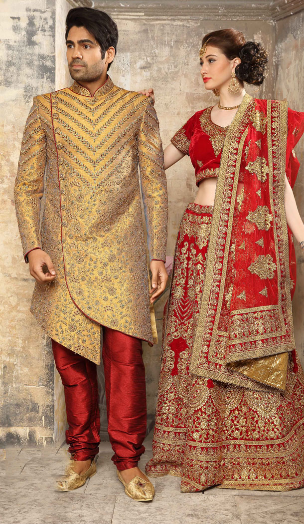 Golden Color Jacquard Exclusive Ready made Indo Western Sherwani - 504661901