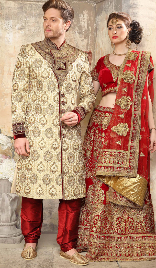 Flamboyant Beige Color Jacquard Exclusive Ready made Indo Western Sherwani - 504661904