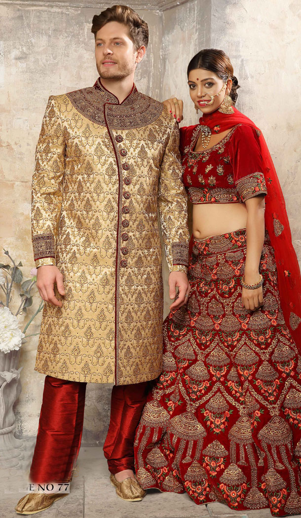 Tan Color Jacquard Exclusive Ready made Indo Western Sherwani