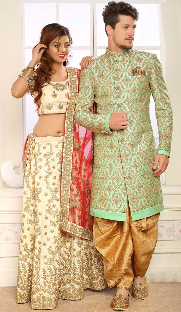 Elegant Pista Color Jacquard Exclusive Ready made Indo Western Sherwani - 504661908