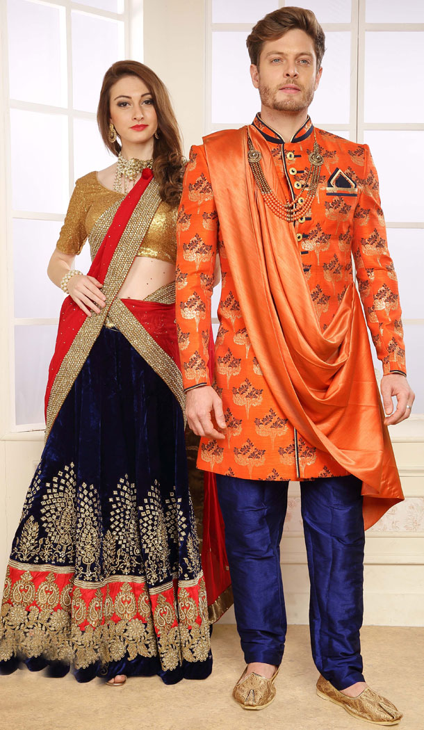 Orange Color Jacquard Exclusive Ready made Indo Western Sherwani - 504661909