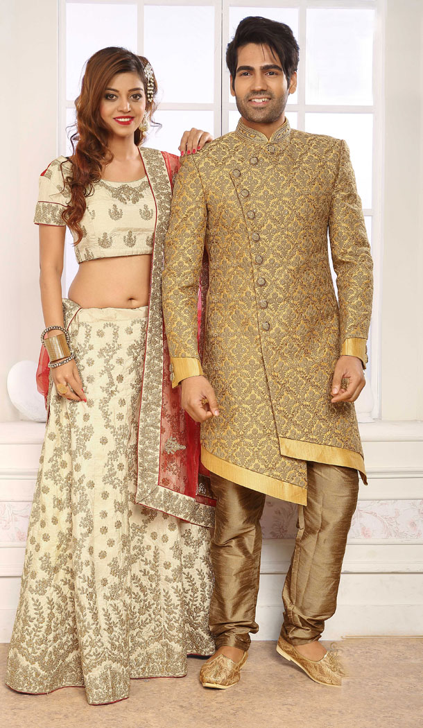 Cream Gold Color Jacquard Exclusive Ready made Indo Western Sherwani