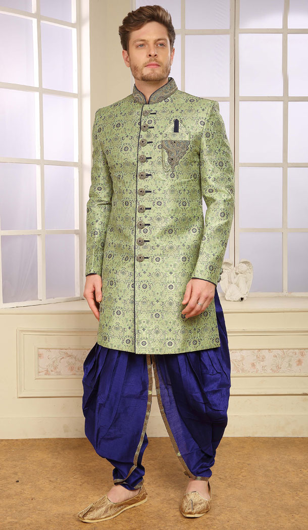 Green Color Jacquard Exclusive Ready made Indo Western Sherwani - 504661914