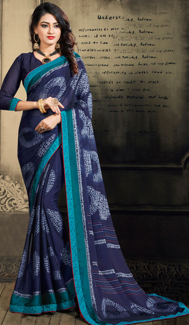 Blue Color Chiffon Casual Wear Saree With Blouse - 500561387