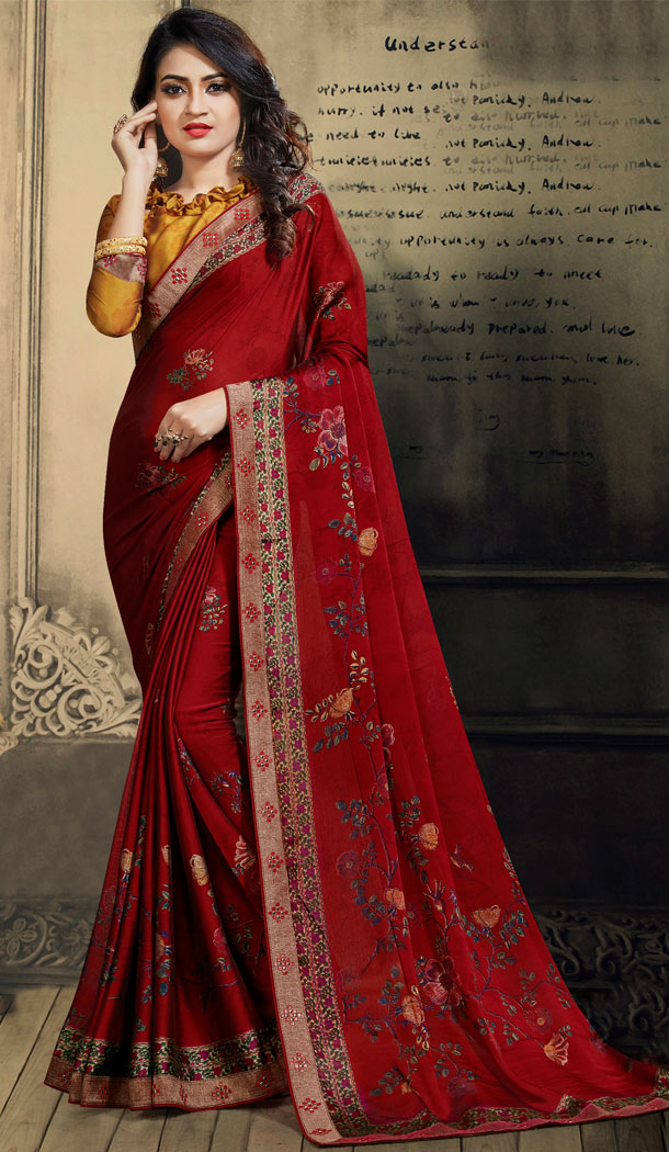 Red Color Chiffon Casual Wear Saree With Blouse - 500561388