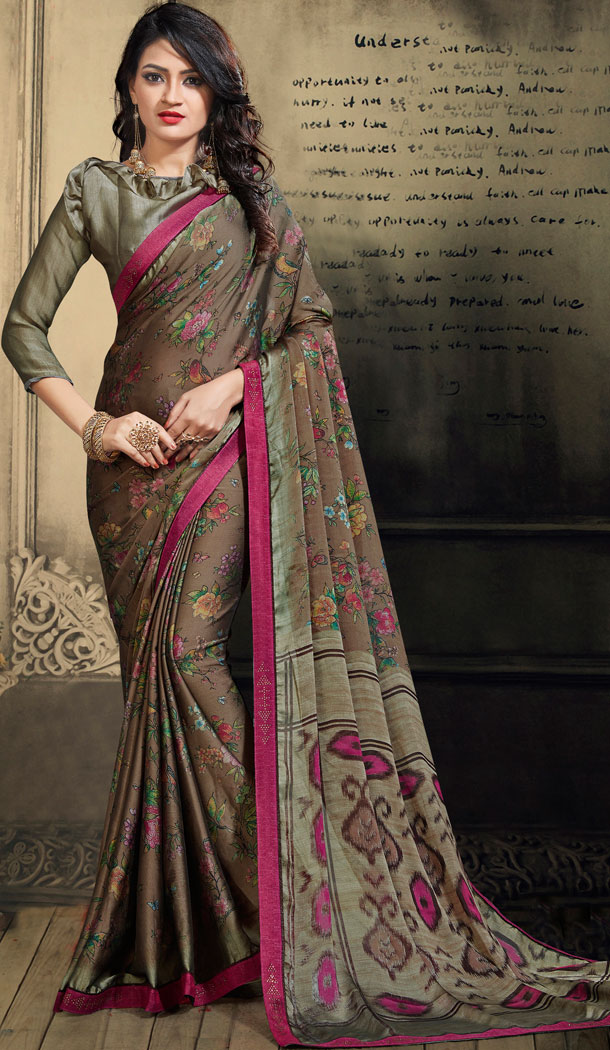 Tan Color Chiffon Casual Wear Saree With Blouse - 500561389
