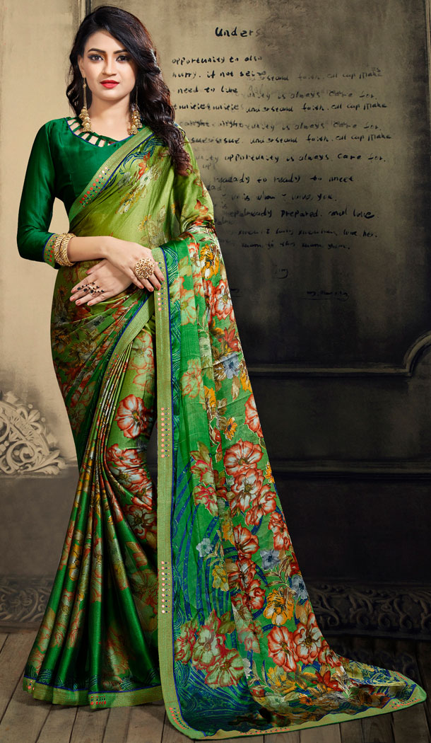 Green Color Chiffon Casual Wear Saree With Blouse - 500561392
