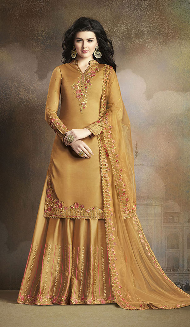Musturd Yellow Color Soft Silk Pakistani Eid Special Palazzo Salwar Kameez - 64064265
