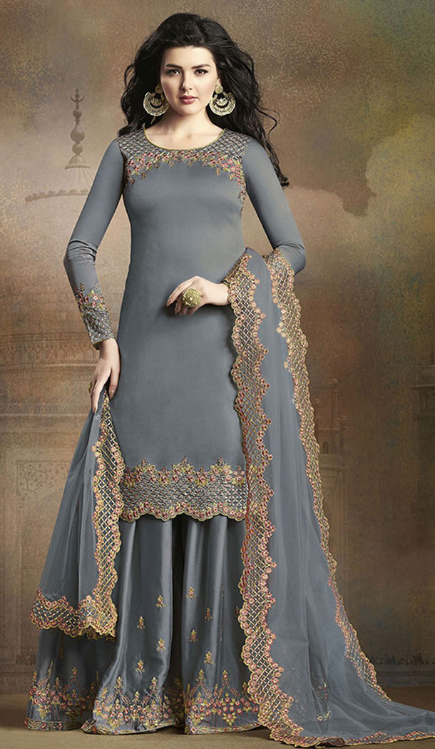 Dark Grey Color Soft Silk Pakistani Eid Special Palazzo Salwar Kameez - 64064268
