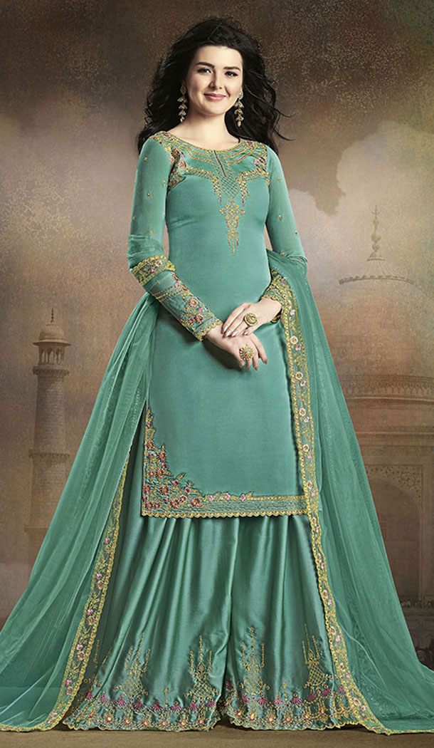 Turquoise Blue Color Soft Silk Pakistani Eid Special Palazzo Salwar Kameez - 64064269