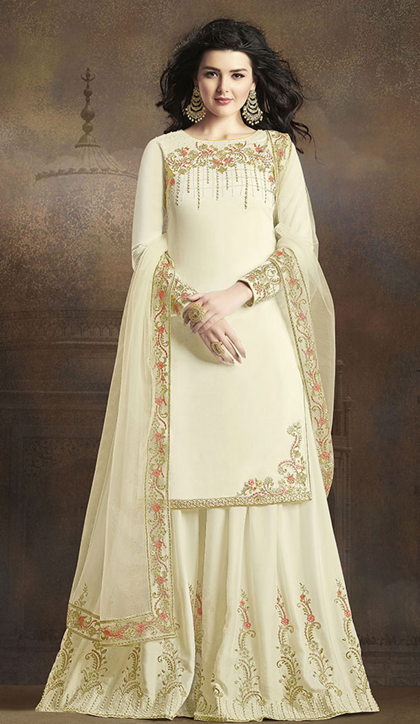 Off White Color Soft Silk Pakistani Eid Special Palazzo Salwar Kameez - 64064270