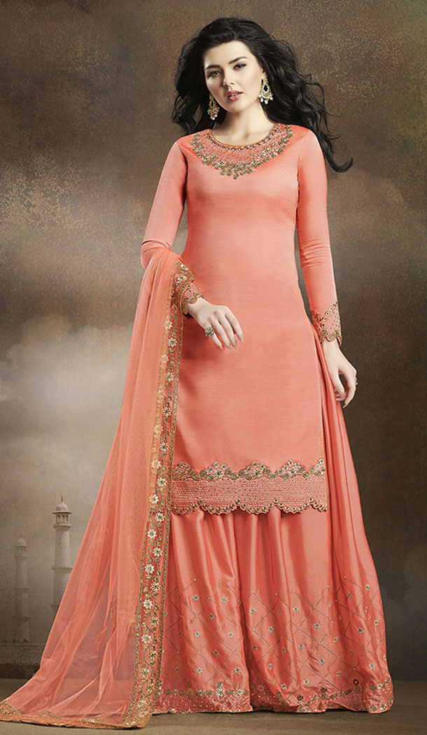 Dark Peach Color Soft Silk Pakistani Eid Special Palazzo Salwar Kameez - 64064271