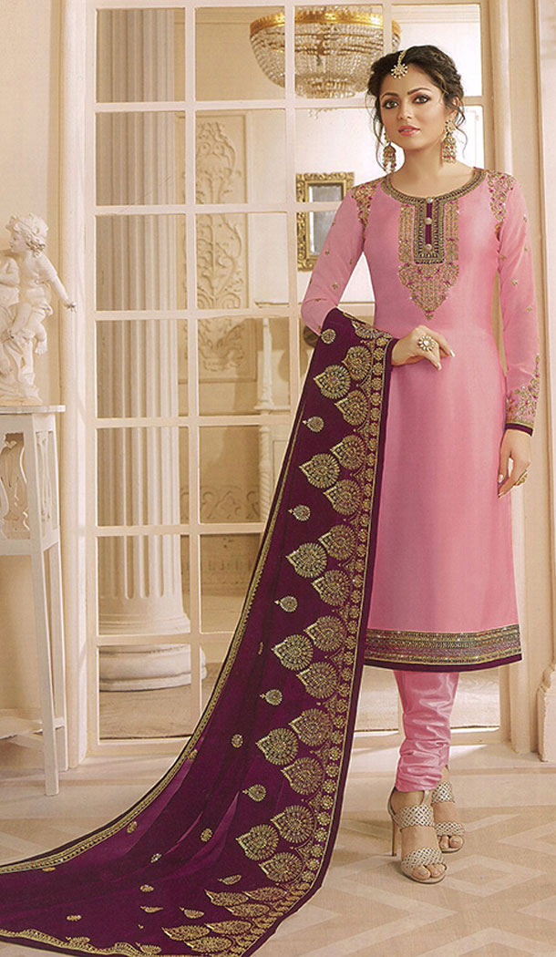 Baby Pink Color Georgette Actress Drashti Dhami Party Salwar Kameez - 64154347