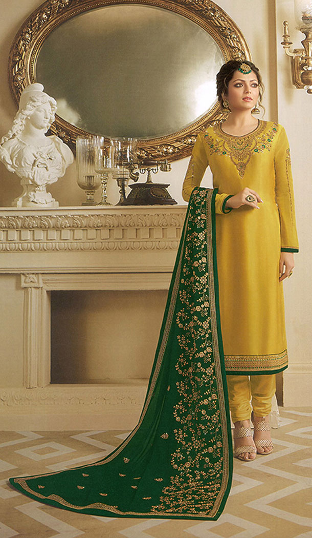 Yellow Color Georgette Actress Drashti Dhami Party Salwar Kameez - 64154348