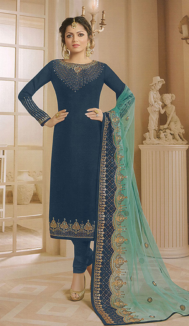 Blue Color Georgette Actress Drashti Dhami Party Salwar Kameez - 64154349