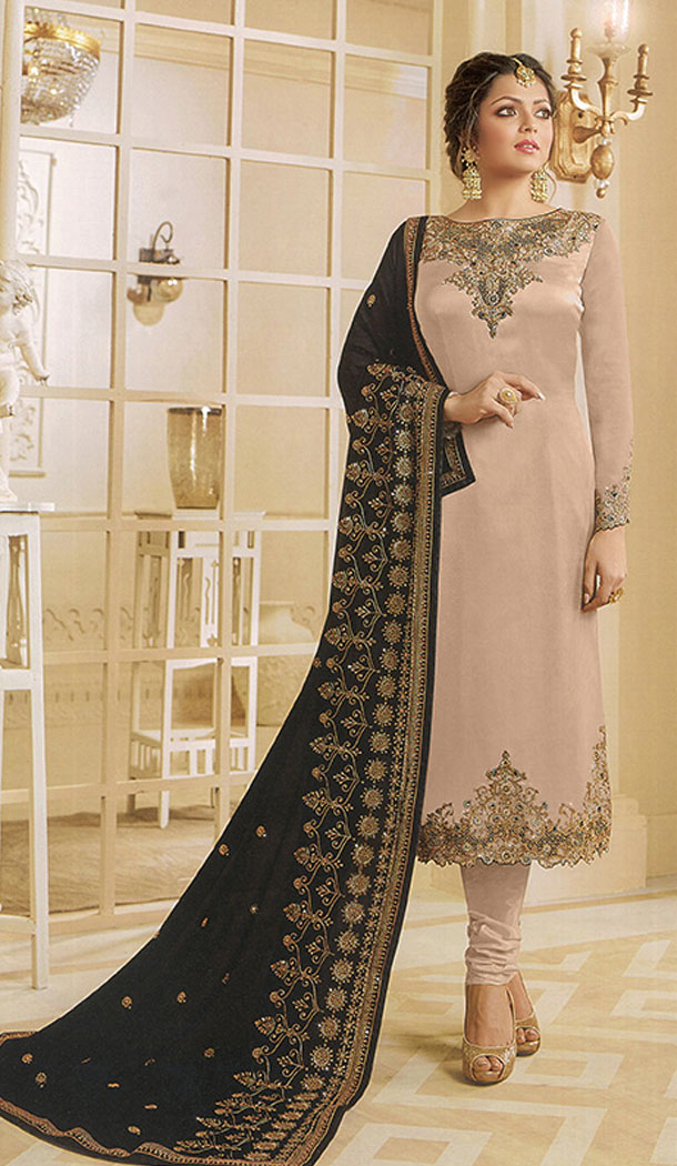 Beige Color Georgette Actress Drashti Dhami Party Salwar Kameez - 64154351