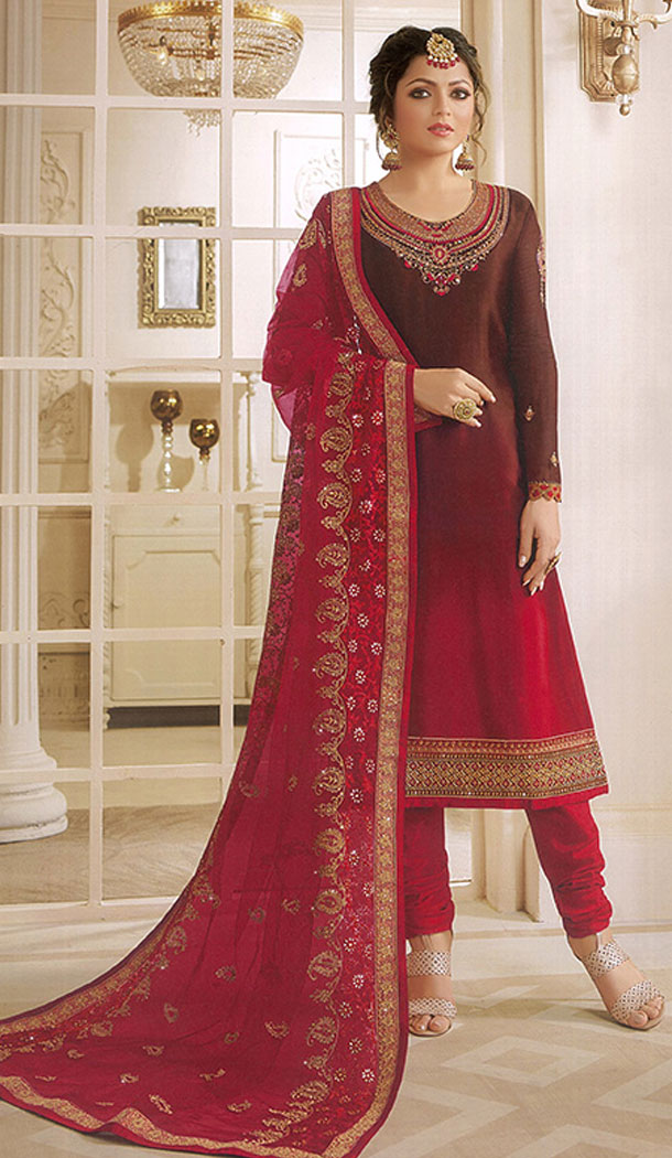Brown And Red Color Georgette Actress Drashti Dhami Party Salwar Kameez - 64154353