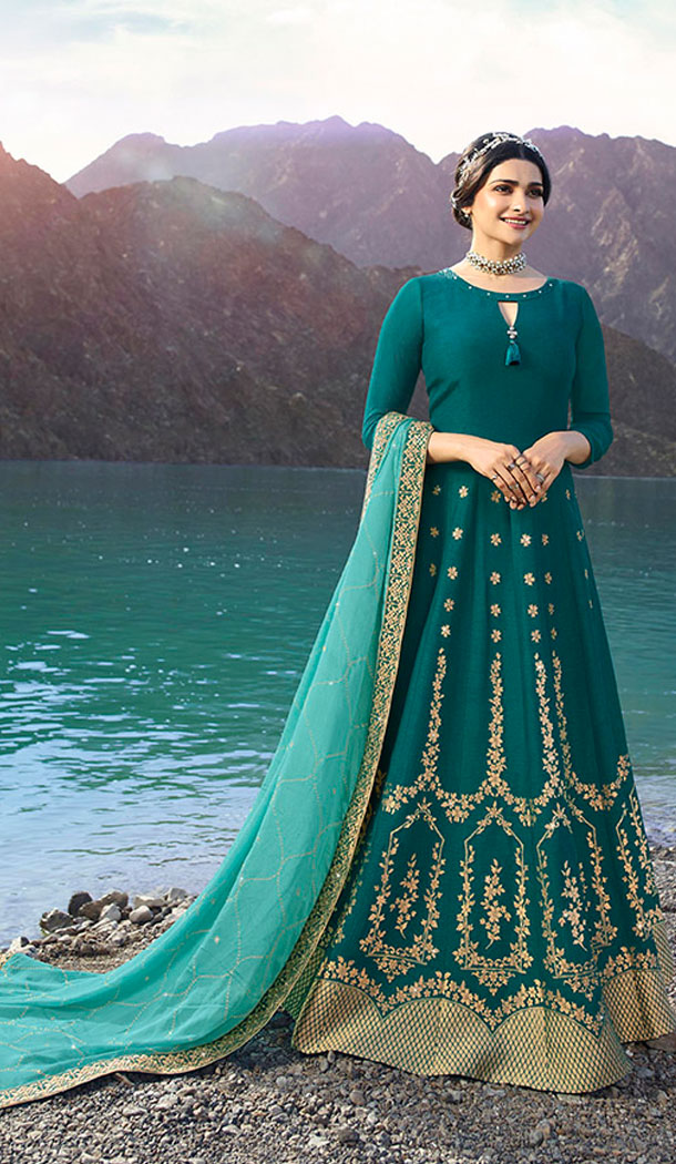 Teal Blue Color Soft Silk Prachi Desai Anarkali Salwar Kameez - 64244431