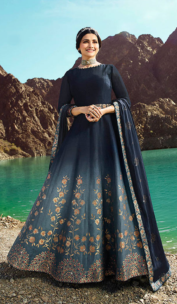 Navy Blue Color Soft Silk Prachi Desai Anarkali Salwar Kameez - 64244433
