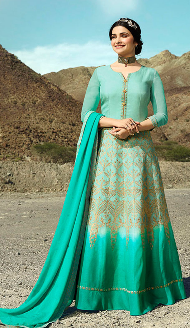 Aqua Blue And Turquoise Blue Color Soft Silk Prachi Desai Anarkali Salwar Kameez - 64244436