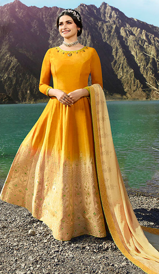 Musturd Yellow And Beige Color Soft Silk Prachi Desai Anarkali Salwar Kameez - 64244437