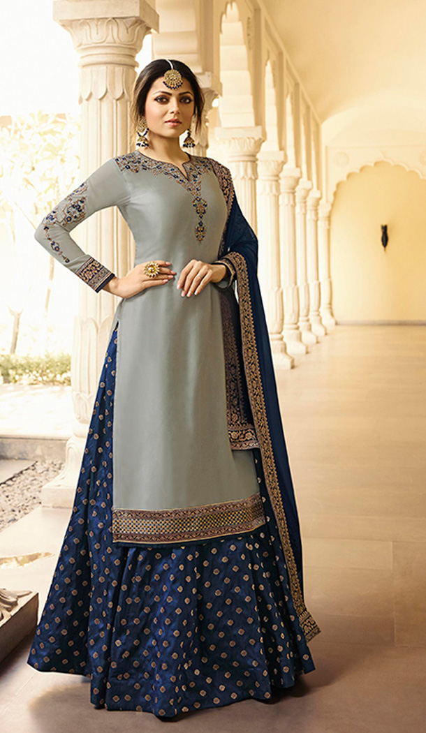 Grey Color Satin Georgette Tv Actress Drashti Dhami Lehenga Suit - 64424632