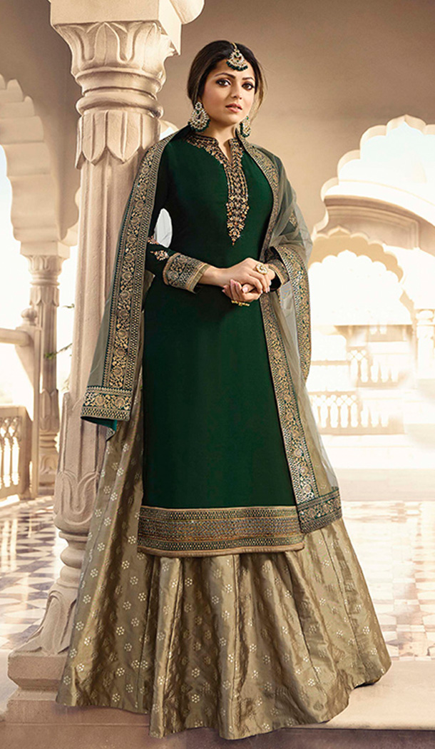Dark Green Color Satin Georgette Tv Actress Drashti Dhami Lehenga Suit - 64424633