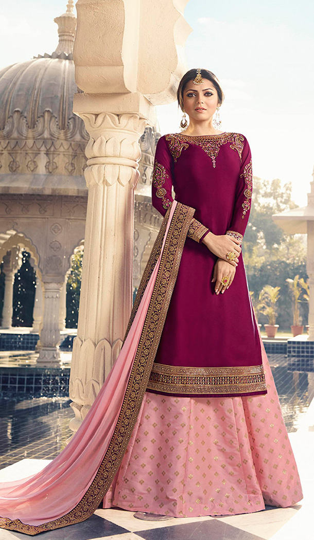 Magenta Pink Color Satin Georgette Tv Actress Drashti Dhami Lehenga Suit - 64424634