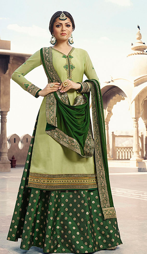 Light Green Color Satin Georgette Tv Actress Drashti Dhami Lehenga Suit - 64424635