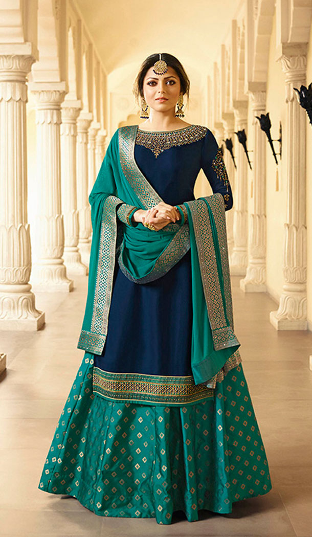 Navy Blue Color Satin Georgette Tv Actress Drashti Dhami Lehenga Suit - 64424636