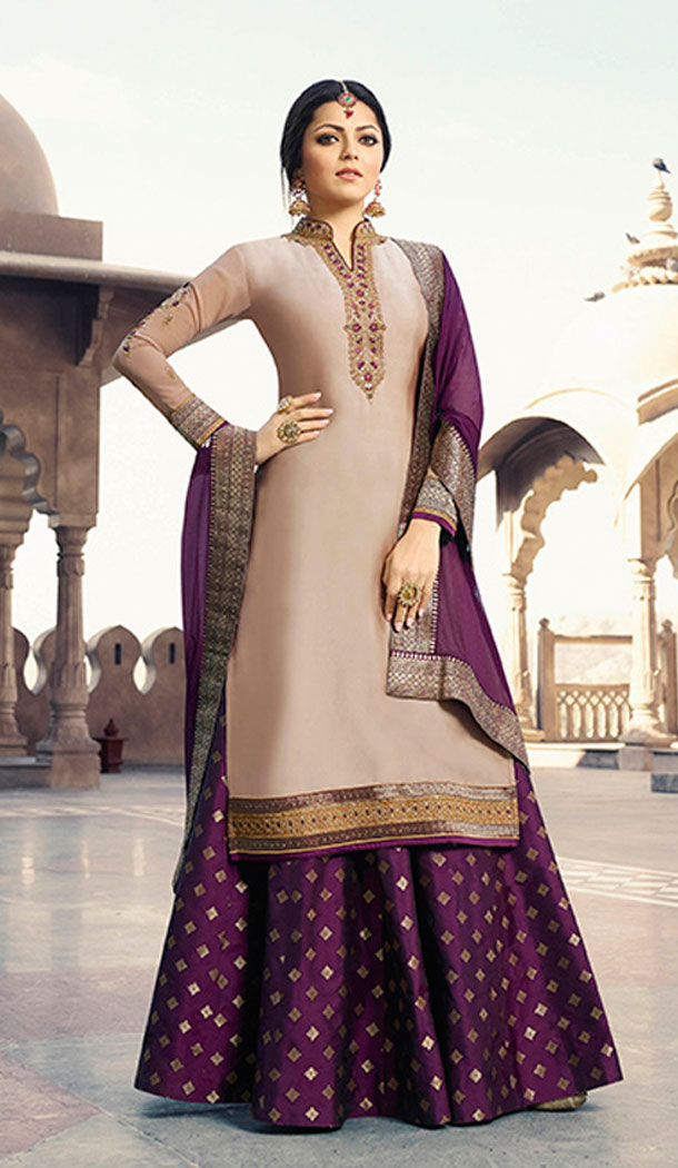 Beige Color Satin Georgette Tv Actress Drashti Dhami Lehenga Suit - 64424637