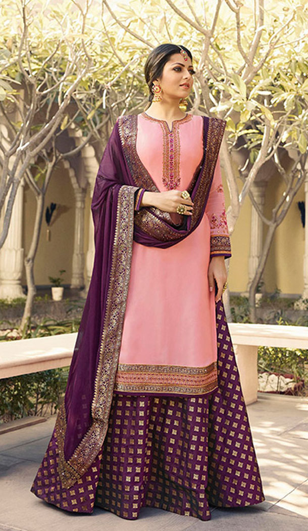 Pink Color Satin Georgette Tv Actress Drashti Dhami Lehenga Suit - 64424639