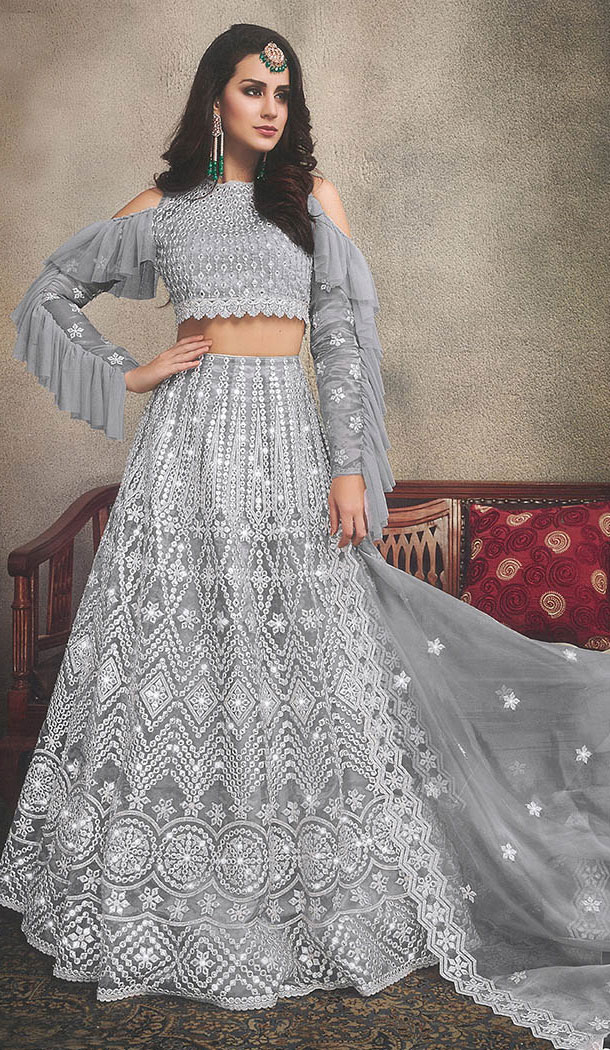 Adorable Grey Color Organza Designer Wear Women Lehenga Choli - 64474677