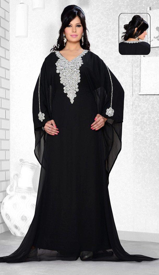 9c7376b37 Black Color Faux Georgette Designer Readymade Islamic Farasha Dress -  502061642