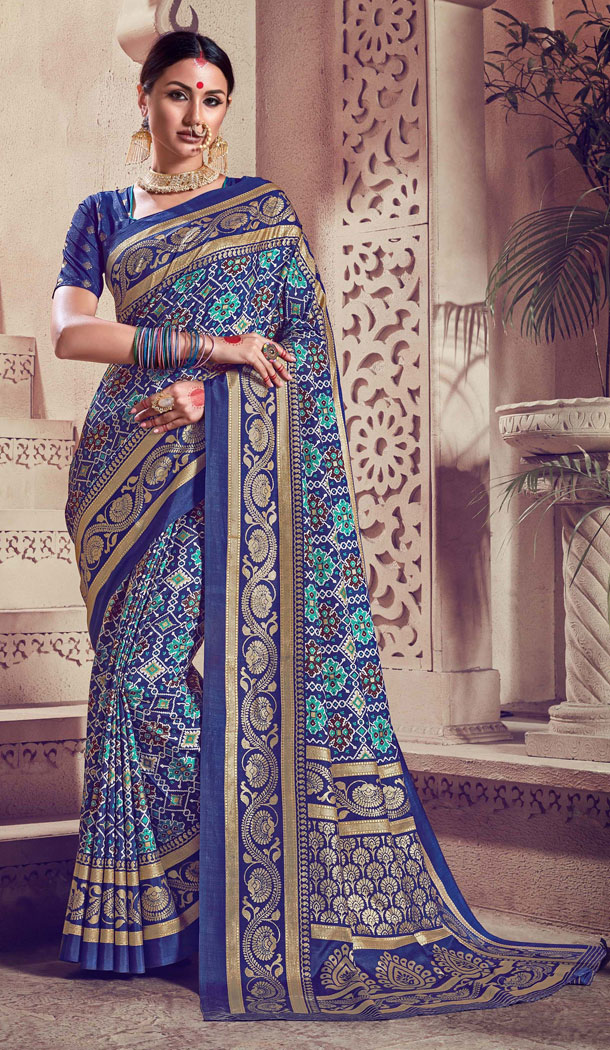Alluring Blue Color Kanjivaram Silk Casual Wear Saree Blouse - 518163324
