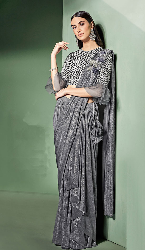 Adorable Grey Color Lycra Fancy Designer Wear Lehenga Style Saree - 64814991