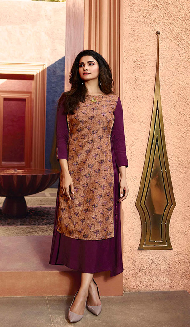 Wine And Beige Color Art Silk And Satin Celebrity Prachi Desai Readymad Kurti - 64875055