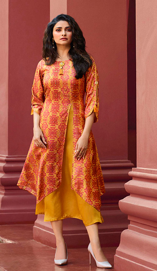 Yellow And Orange Color Art Silk And Satin Celebrity Prachi Desai Readymad Kurti - 64875056