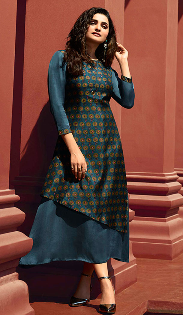 Dark Blue Color Art Silk And Satin Celebrity Prachi Desai Readymad Kurti - 64875057