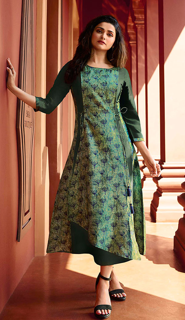 Dark Green Color Art Silk And Satin Celebrity Prachi Desai Readymad Kurti - 64875059