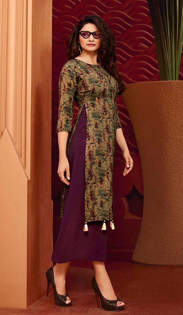 Wine And Olive Green Color Art Silk And Satin Celebrity Prachi Desai Readymad Kurti - 64875060