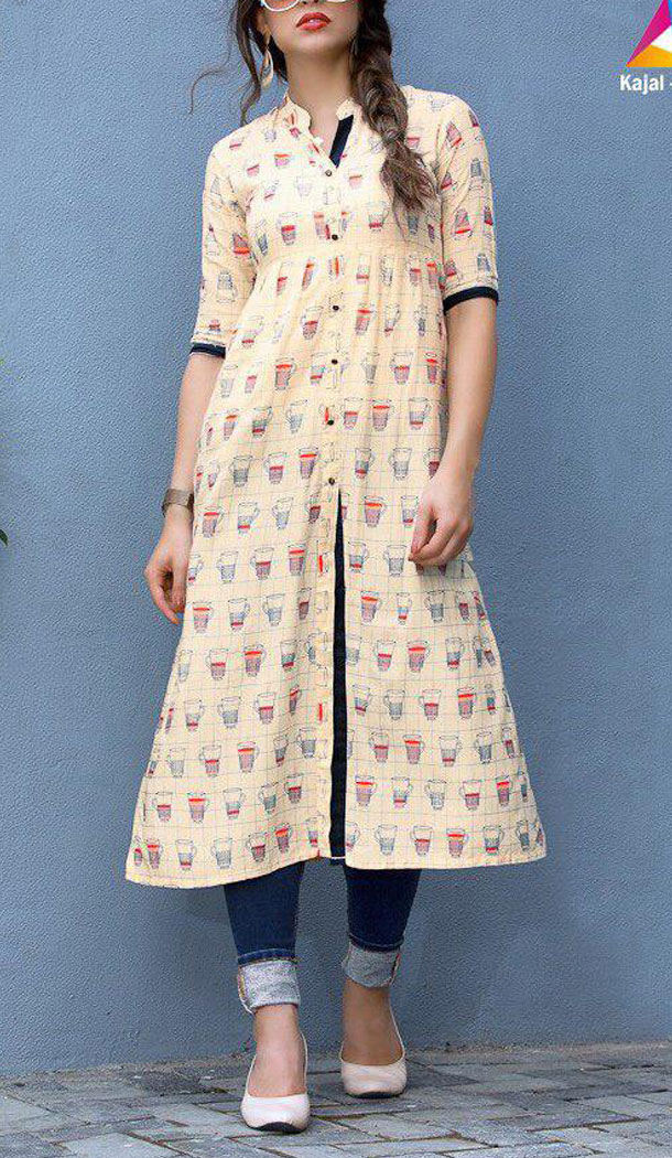 Creme Color Heavy Rayon Party Wear Readymade Women Long Kurta - 520863851