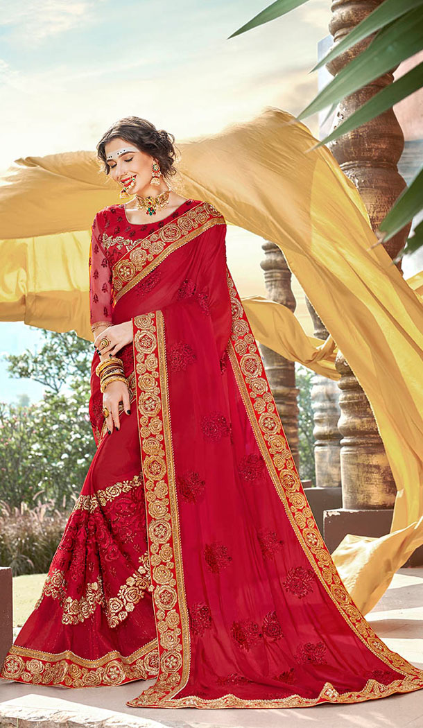 Red Georgette Party Wear Plus Size Saree - 65105260