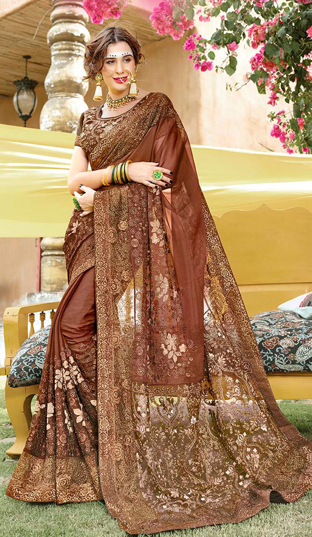 Adorable Brown Georgette Party Wear Plus Size Saree - 65105263