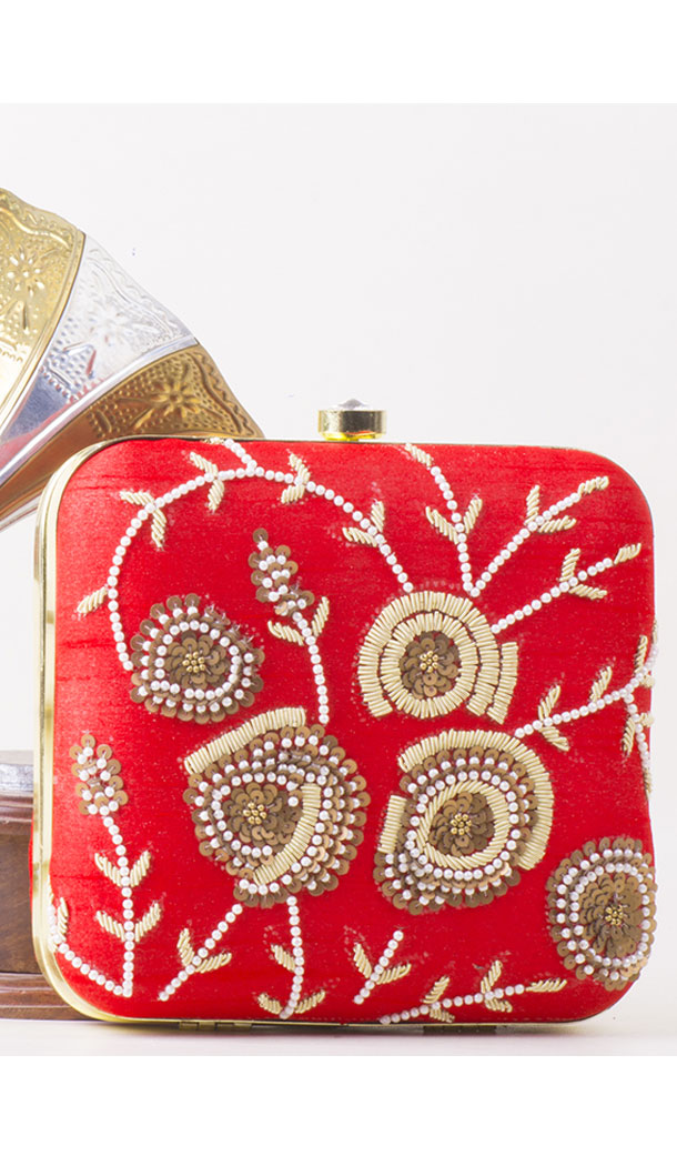 Charming Red Color Synthetic Velvet Exclusive Designer Clutches - 528065038