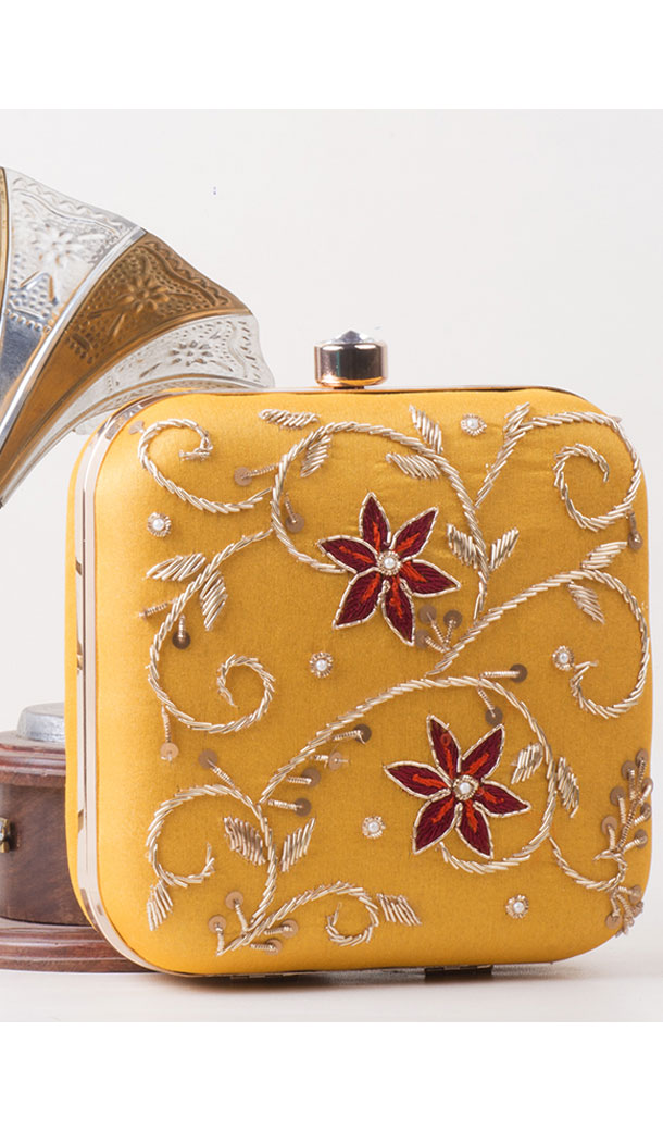Yellow Color Synthetic Velvet Exclusive Designer Clutches - 528065039