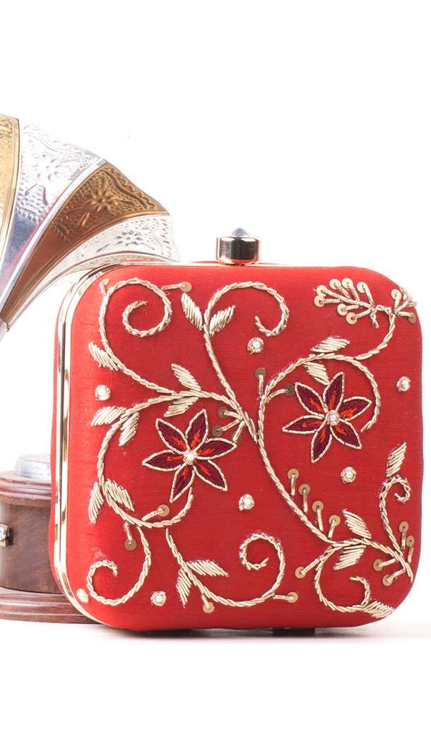 Chic Red Color Synthetic Velvet Exclusive Designer Clutches - 528065040