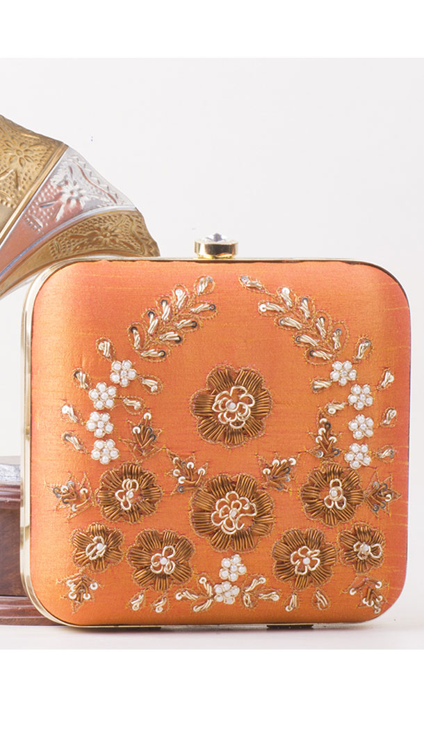 Alluring Orange Color Synthetic Velvet Exclusive Designer Clutches - 528065052
