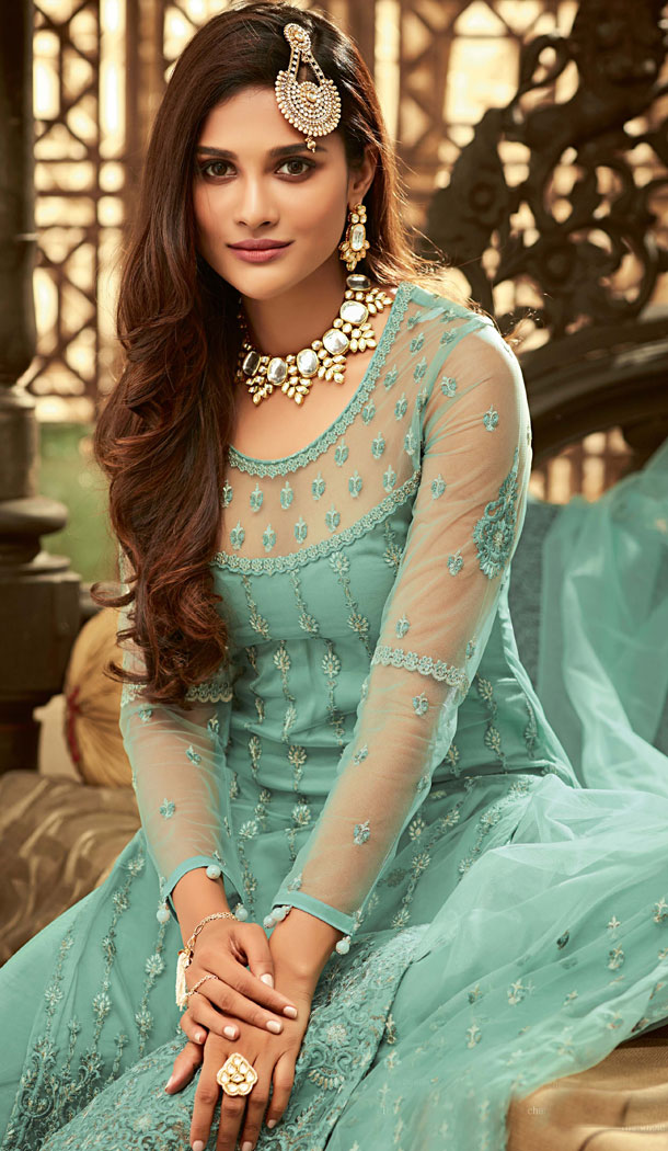 Aqua Green Color Pakistani Style Sharara Salwar Kameez - 529965242
