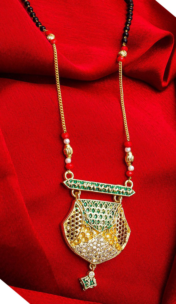 Captivating Golden Color Alloy Pendant Designer Imitation Mangalsutra Jewellery - 533365548